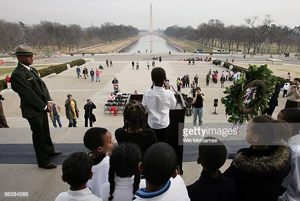 Children from Watkins Elementary School participate in reciting Martin Luther King's 1963 I have a Dream speech on the steps of the Lincoln Memorial...