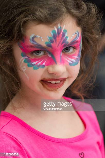 Children get their faces painted at The Chocolate Expo held at the Garden State Plaza Mall Paramus New Jersey January 2019