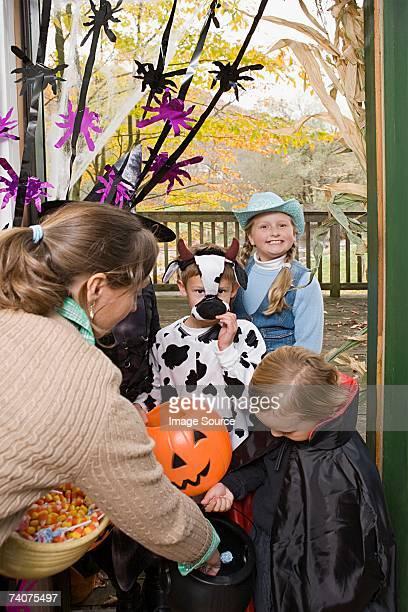 Children getting halloween treats