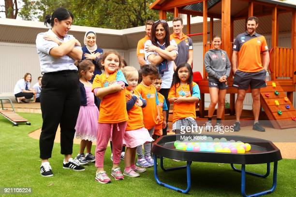 Children give a welcome to country before a Greater Western Sydney Giants AFL media opportunity to launch their ÔLittle GIANTSÔ early education...
