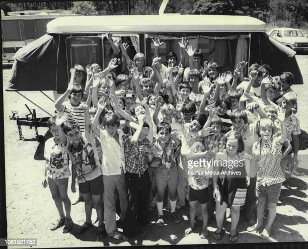 52 children group outside the camper trailer before cramming inSydney students planning a caravan cramin at Ryde today will be seeking to better the...