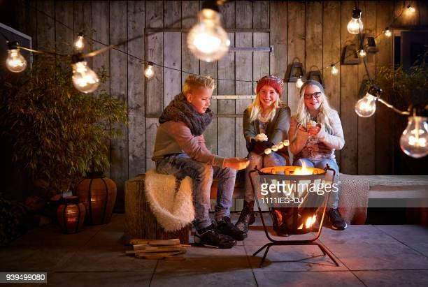 Kinderen veel plezier rond een vuur, drink chocolade melk en warmte marshmallow.