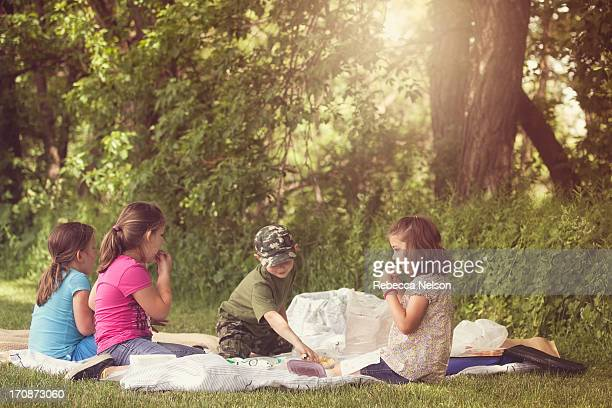Children having a picnic lunch
