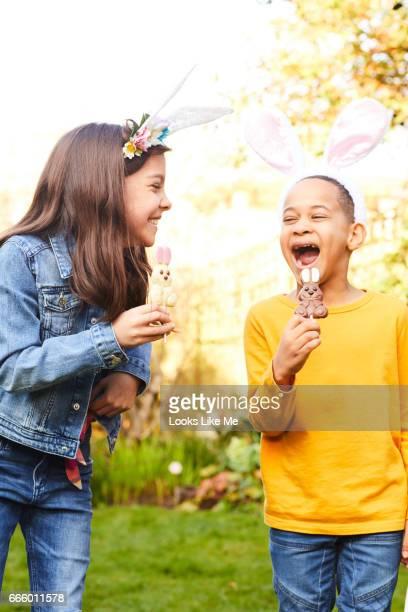 Children having fun on an Easter Egg hunt.