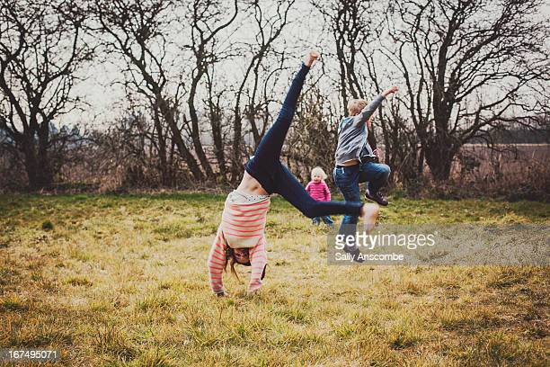 Children having fun playing outdoors