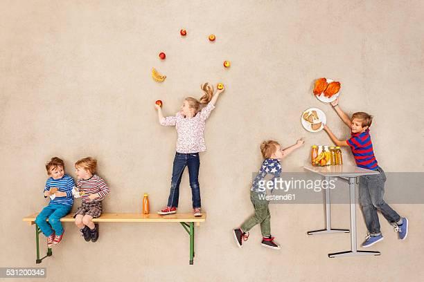 Children having lunch braek