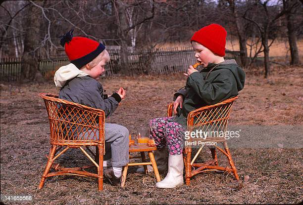 Children having picnic in garden
