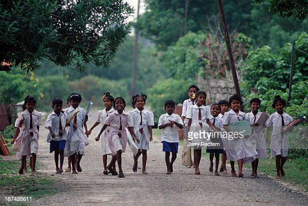 Children head to school on Nainativu Island the spot where the Buddha visited Sri Lanka more than 2000 years ago That spot is in a heavily fortified...