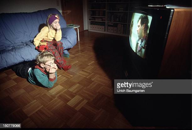 Children hidden watching TV