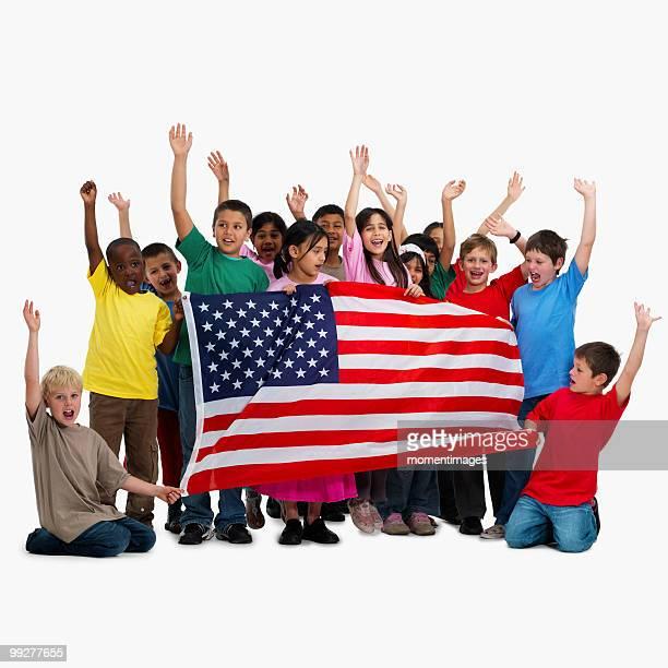 Children holding flag