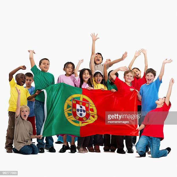 children holding flag - bandeira de portugal imagens e fotografias de stock