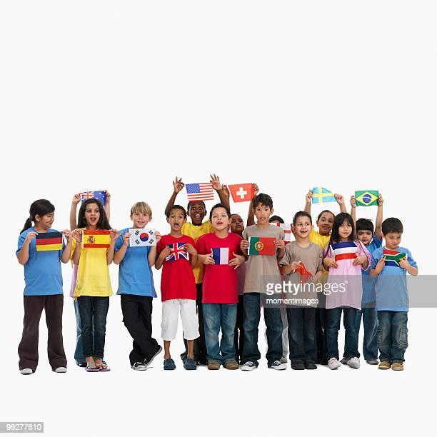 children holding flags - bandeira de portugal imagens e fotografias de stock