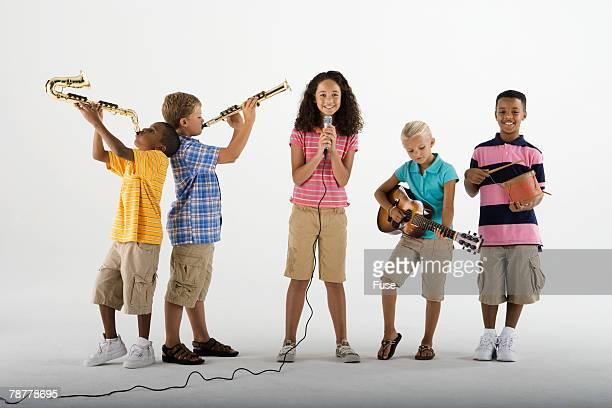 children in a band - clarinetto foto e immagini stock