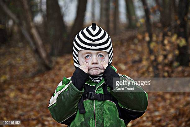 children in a forest kindergarten in denmark. - ugly kids stock photos and pictures