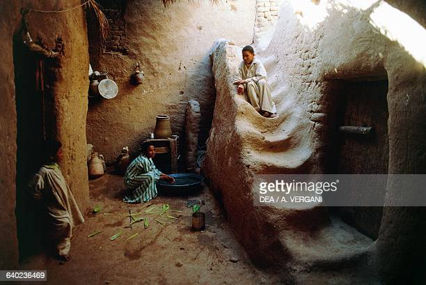 Children in a house in the village of Baris Kharga oasis Western Sahara Egypt