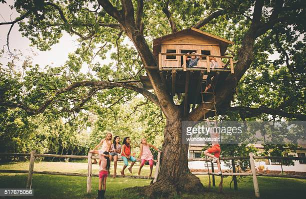 Children in a treehouse with boy climbing up rope ladder