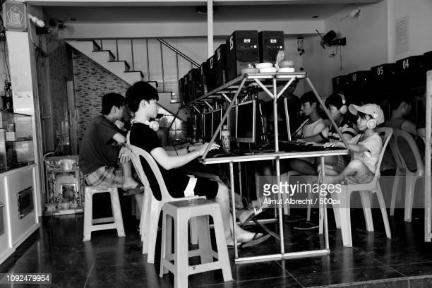 children in an Internet Cafe in Mui Ne, Vietnam