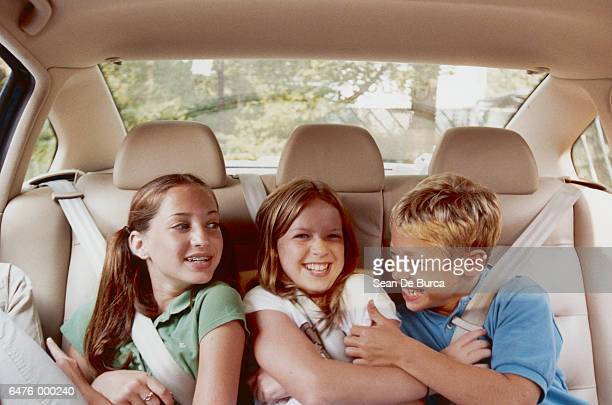 children in automobile - family inside car stock photos and pictures