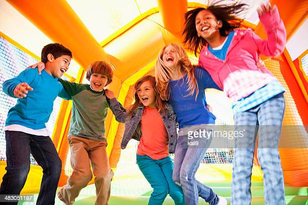 Children in bounce house