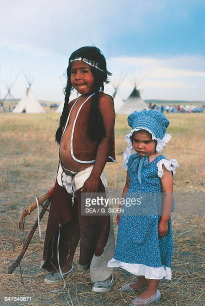 Children in costume for the annual commemoration of the Battle of Little Bighorn Montana United States of America