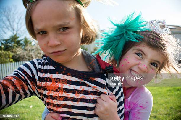 children in costumes playing outdoors - preschool student stock pictures, royalty-free photos & images