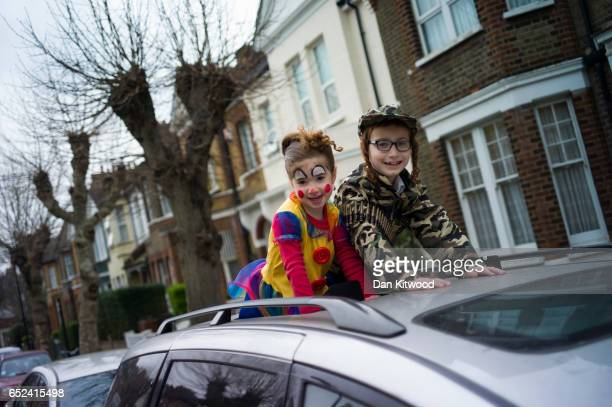 Children in fancy dress during the annual Jewish holiday of Purim on March 12 2017 in London England Purim is celebrated by Jewish communities around...