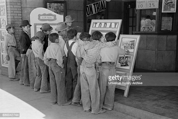 Children in Front of Moving Picture Theater Alpine Texas USA Russell Lee May 1939