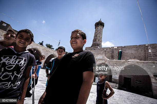 Children in front of the Great Mosque of Gaza in Gaza City before Friday prayers on July 18th 2014