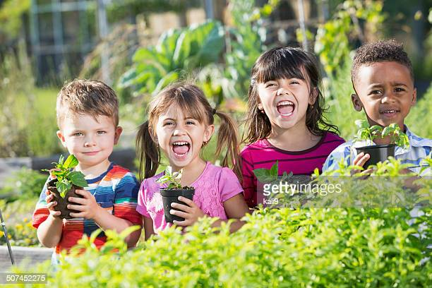Children in garden holding seedlings