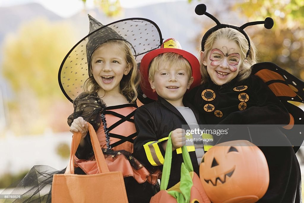 Children in Halloween costumes : Stock Photo
