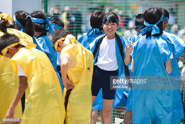 children in happi, on sports day - happi stock photos and pictures
