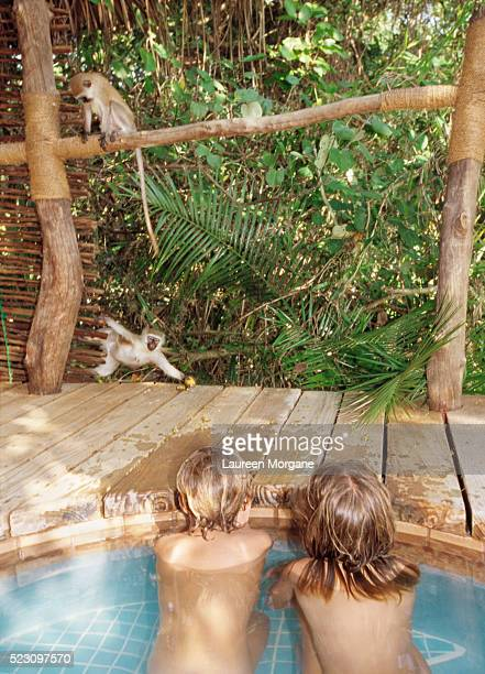 Children in Hot Tub Watching Monkeys