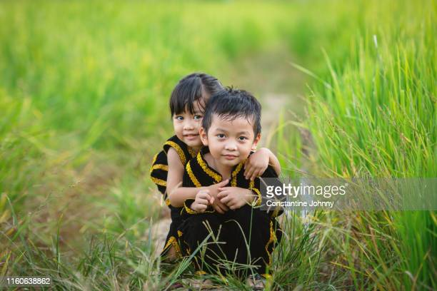 children in kadazan dusun traditional ethnic costumes in borneo - harvest festival stock pictures, royalty-free photos & images