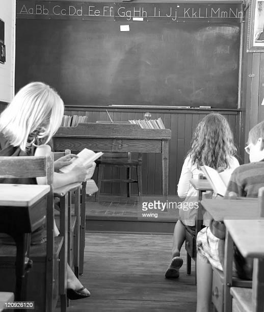 Children in Retro Aged Classroom