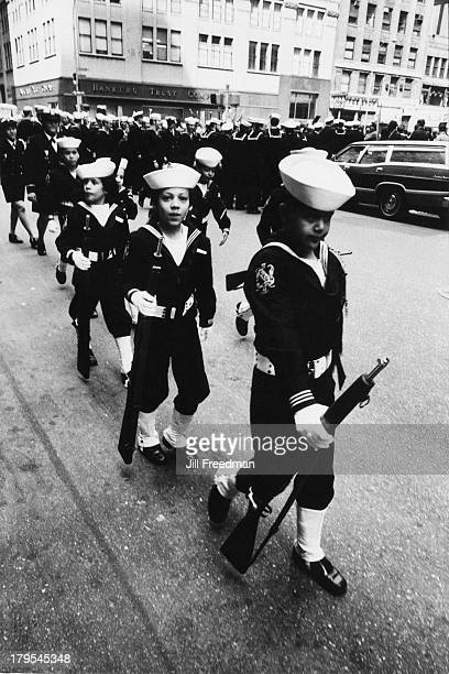 Children in sailor suits march in the 'Home With Honor' parade to mark the homecoming of American troops from Vietnam New York City 1973