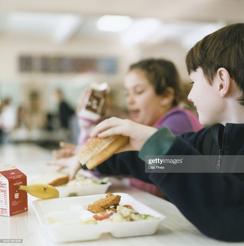 Children in School Cafeteria : Stock Photo