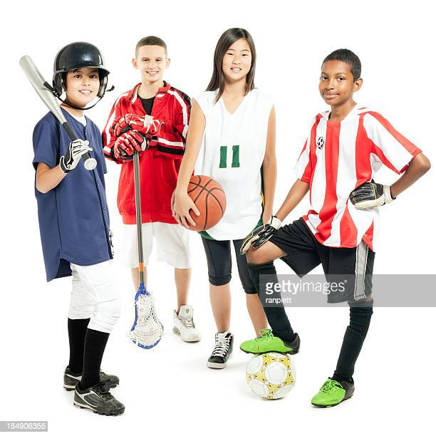 children in sports attire - isolated - baseball sport stock pictures, royalty-free photos & images