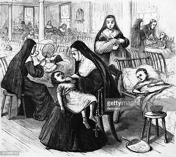 Children in St Vincent's Infant Asylum New Orleans attended by Sisters of Charity From a series of images entitled 'The Great Yellow Fever...
