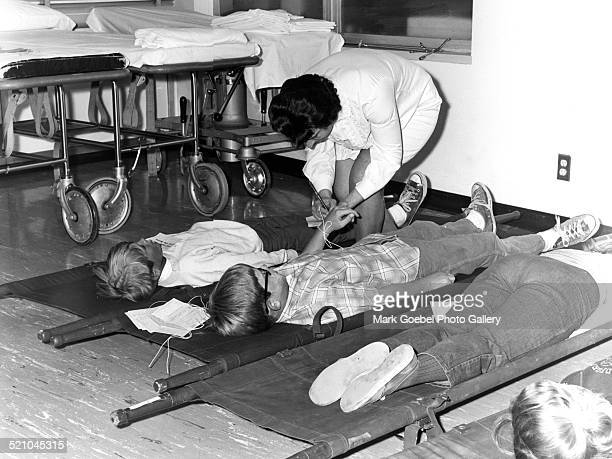 Children in stretchers during disaster drill late 1960s