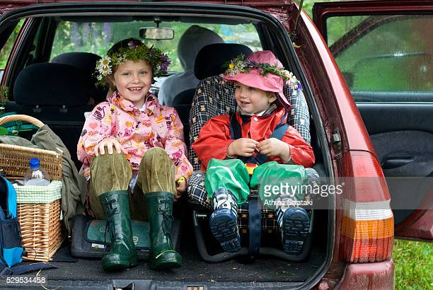 Children in the boot of a car