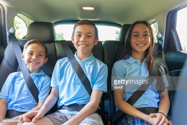 Children in the Car Going to School