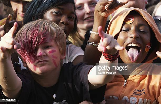 Children in the crowd enjoy the music at Rise London United an antiracist festival to celebrate London's diversity on July 8 2006 in London England