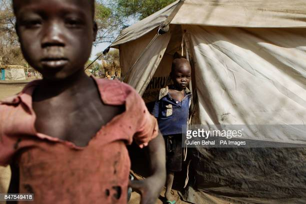 Children in the Doro refugee camp in BunjMaban in the Upper Nile Blue Nile state of northeastern South Sudan AfricaThe region recently suffered from...