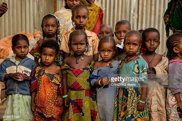 Children in the Fulani Muslim refugees camp north of Bangui on February 15 2014 in Bangui Central African Republic