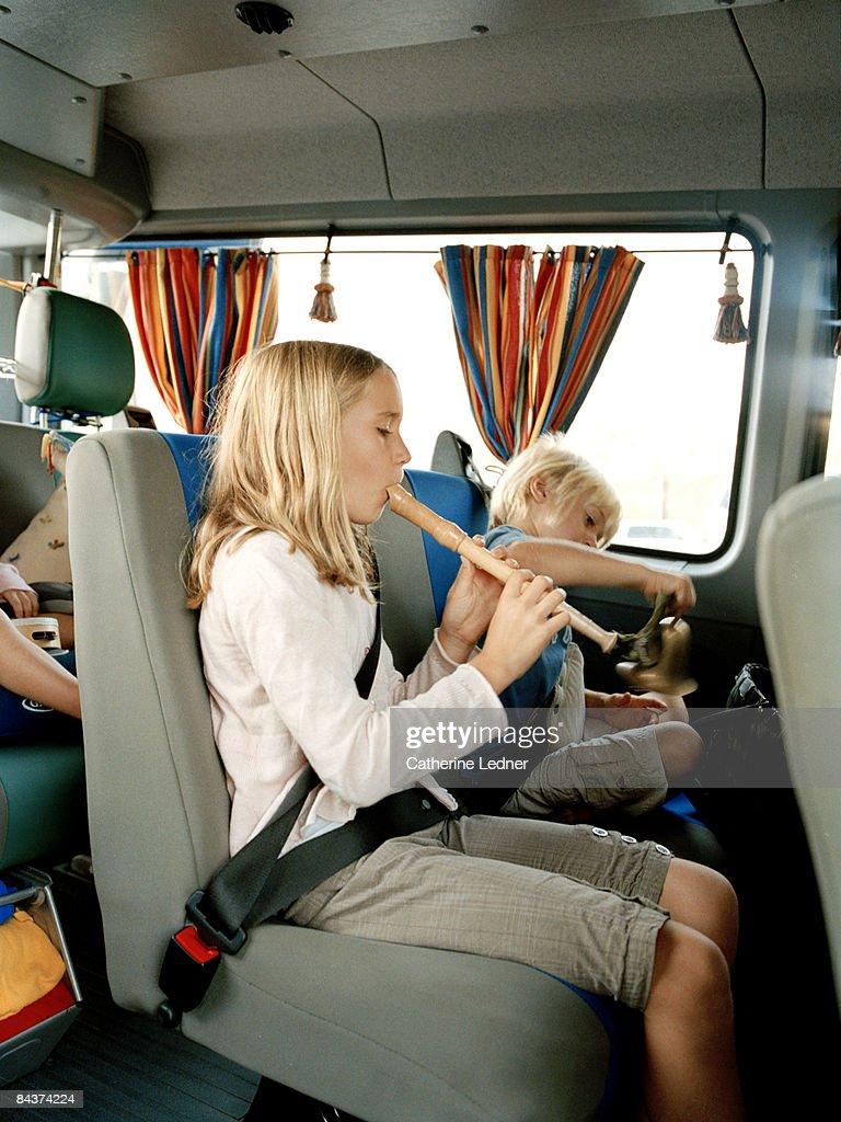 Children in Van : Stock Photo