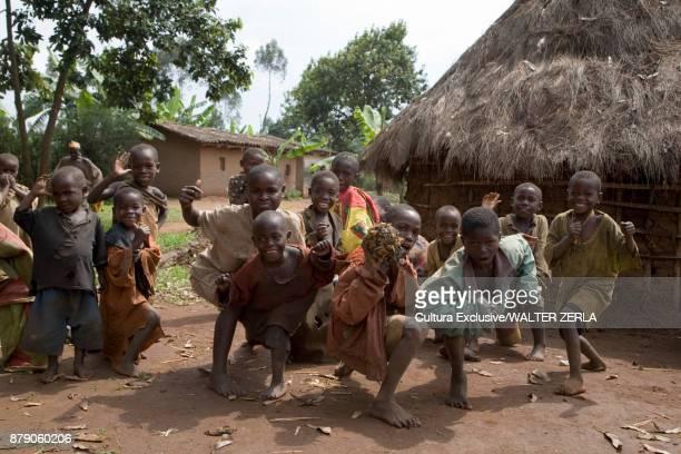 Children in village showing off for camera, Masango, Cibitoke, Burundi, Africa