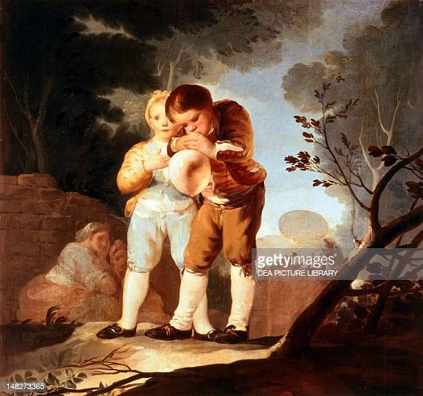 Children inflating a bladder by Francisco de Goya gouache on paper 116x124 cm Madrid Museo Del Prado