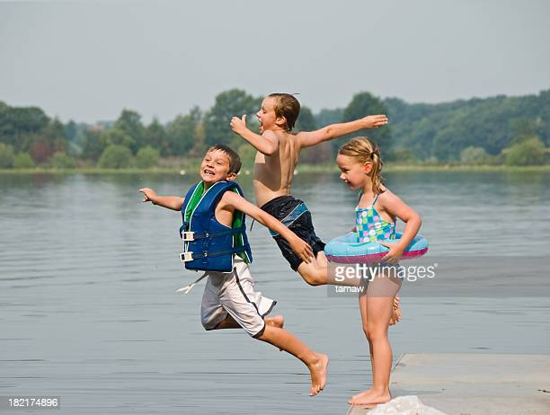Children Jumping into the Lake