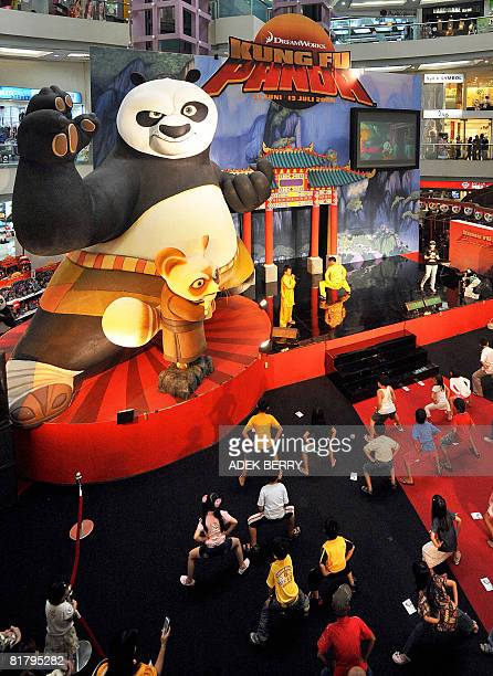 Children learn kung fu moves during a promotion of the latest animated movie Kung Fu Panda at a shopping mall in Jakarta on July 2 2008 Kung Fu Panda...