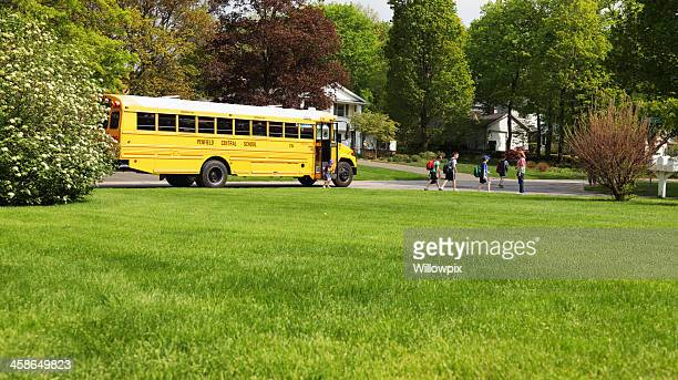 Children Leaving Afternoon School Bus